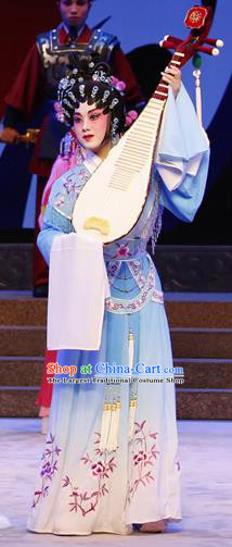 Chinese Cantonese Opera Palace Lady Garment Zhaojun Frontier Song Costumes and Headdress Traditional Guangdong Opera Court Maid Apparels Xiaodan Blue Dress