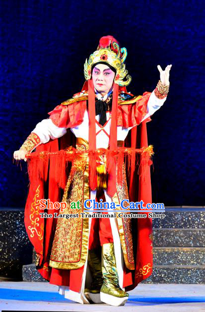 Chinese Guangdong Opera Wusheng Apparels Costumes and Headwear Traditional Cantonese Opera General Wei Tuo Garment Martial Male Clothing