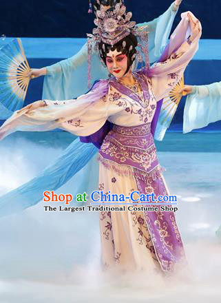 Chinese Cantonese Opera Hua Tan Garment Goddess Luo Costumes and Headdress Traditional Guangdong Opera Young Beauty Apparels Actress Dress