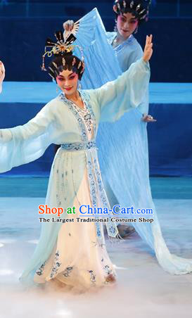 Chinese Cantonese Opera Xiaodan Garment Goddess Luo Costumes and Headdress Traditional Guangdong Opera Young Beauty Apparels Actress Blue Dress