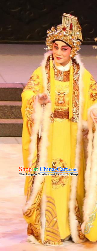 the Ode of Peony Chinese Guangdong Opera Emperor Apparels Costumes and Headwear Traditional Cantonese Opera Monarch Garment Clothing