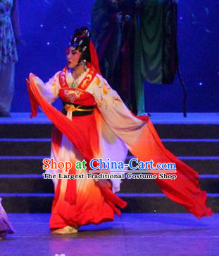 Chinese Cantonese Opera Fairy Garment Qian Nv You Hun Costumes and Headdress Traditional Guangdong Opera Ghost Nie Xiaoqian Apparels Hua Tan Red Dress