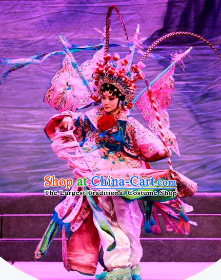 Chinese Cantonese Opera Tao Ma Tan Garment Costumes and Headdress Traditional Guangdong Opera Female General Apparels Dress with Flags