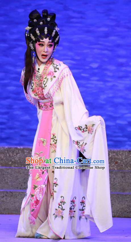 Chinese Cantonese Opera Young Beauty Qiu Chan Garment The Mad Monk by the Sea Costumes and Headdress Traditional Guangdong Opera Hua Tan Apparels Actress Dress