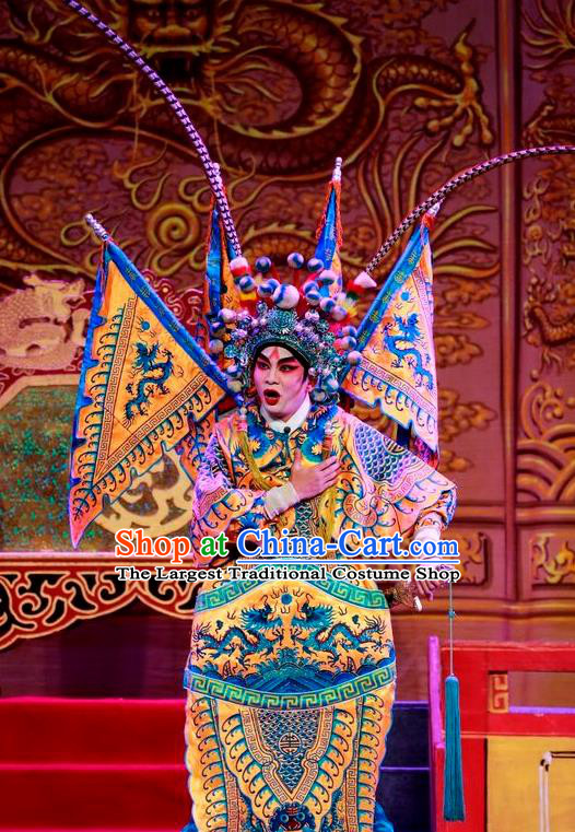 Chinese Guangdong Opera Crown Prince Apparels Costumes and Headwear Traditional Cantonese Opera Kao Garment General Armor Clothing with Flags