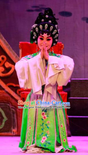 Chinese Cantonese Opera Young Beauty Garment Costumes and Headdress Traditional Guangdong Opera Hua Tan Apparels Diva Green Dress