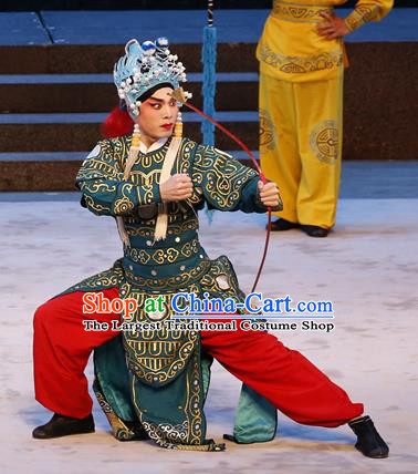 Bai Tu Ji Chinese Guangdong Opera Warrior Apparels Costumes and Headwear Traditional Cantonese Opera Soldier Garment Wusheng Clothing
