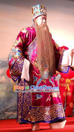 Love in the Red Plum Chinese Guangdong Opera Official Jia Sidao Apparels Costumes and Headwear Traditional Cantonese Opera Jing Garment Elderly Male Clothing
