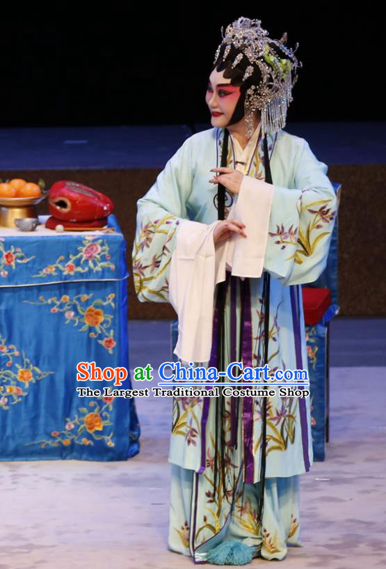 Chinese Cantonese Opera Young Woman Garment Ne Zha Hui Mu Costumes and Headdress Traditional Guangdong Opera Actress Apparels Diva Dress