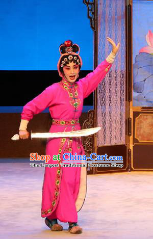 Chinese Cantonese Opera Wudan Garment Ba Luo He Costumes and Headdress Traditional Guangdong Opera Martial Male Apparels Ma Jinding Rosy Dress