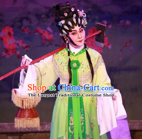 Chinese Cantonese Opera Diva Lin Daiyu Garment Costumes and Headdress Traditional Guangdong Opera Hua Tan Apparels Actress Green Dress