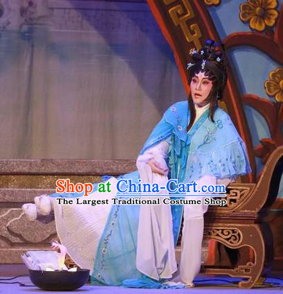 Chinese Cantonese Opera Distress Maiden Garment Costumes and Headdress Traditional Guangdong Opera Actress Apparels Diva Lin Daiyu Blue Dress