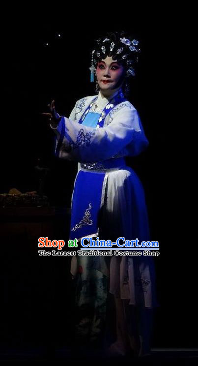 Chinese Cantonese Opera Diva Garment Zi Yun Costumes and Headdress Traditional Guangdong Opera Country Woman Apparels Young Female Dress