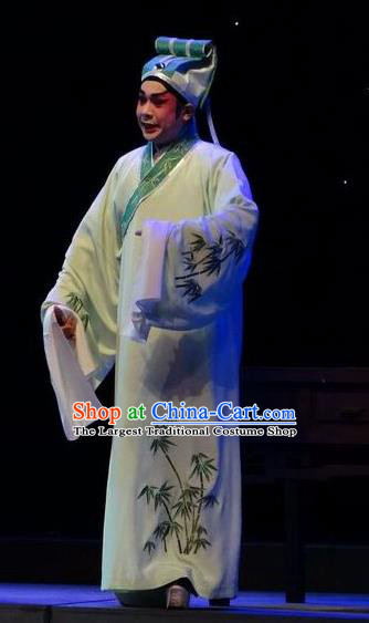 Zi Yun Chinese Guangdong Opera Xiaosheng Apparels Costumes and Headwear Traditional Cantonese Opera Niche Garment Scholar Wen Qing Clothing