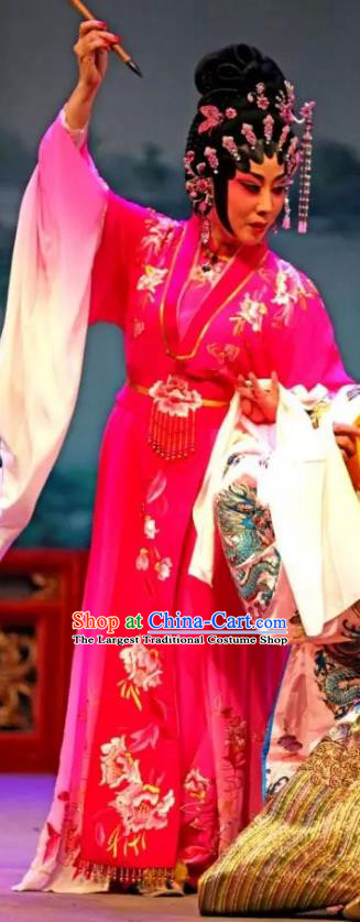 Chinese Cantonese Opera Hua Tan Garment Princess Changping Costumes and Headdress Traditional Guangdong Opera Young Beauty Apparels Actress Dress