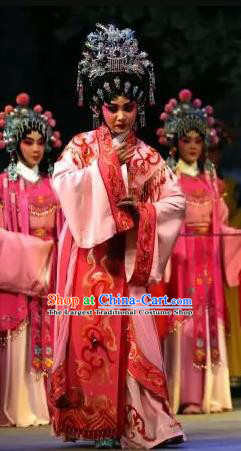 Chinese Cantonese Opera Actress Garment Princess Changping Costumes and Headdress Traditional Guangdong Opera Young Beauty Apparels Hua Tan Dress
