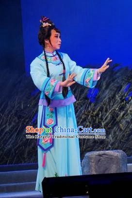 Chinese Cantonese Opera Village Girl Garment Zhuang Yuan Lin Zhaotang Costumes and Headdress Traditional Guangdong Opera Xiaodan Apparels Young Lady Blue Dress
