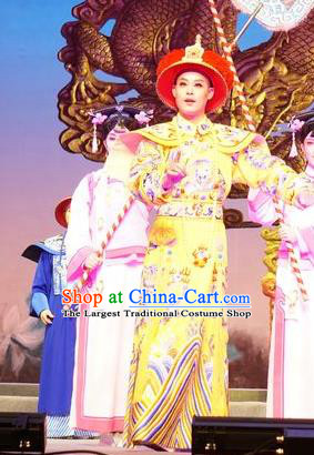 Zhuang Yuan Lin Zhaotang Chinese Guangdong Opera Lord Apparels Costumes and Headwear Traditional Cantonese Opera Monarch Garment Qing Dynasty Emperor Clothing