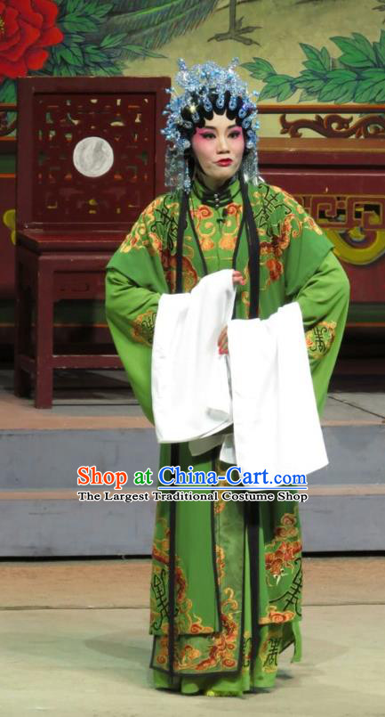 Chinese Cantonese Opera Noble Dame Garment The Strange Stories Costumes and Headdress Traditional Guangdong Opera Countess Apparels Rich Mistress Green Dress