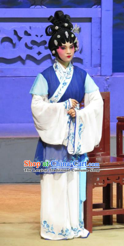 Chinese Cantonese Opera Xiaodan Garment The Strange Stories Costumes and Headdress Traditional Guangdong Opera Figurant Apparels Maidservant Blue Dress