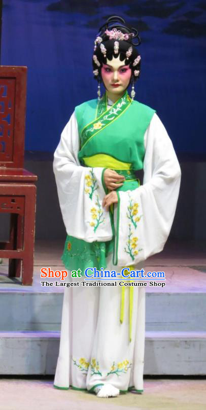 Chinese Cantonese Opera Xiaodan Garment The Strange Stories Costumes and Headdress Traditional Guangdong Opera Figurant Apparels Maidservant Green Dress