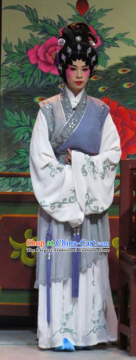 Chinese Cantonese Opera Maid Lady Garment The Strange Stories Costumes and Headdress Traditional Guangdong Opera Figurant Apparels Servant Girl Dress