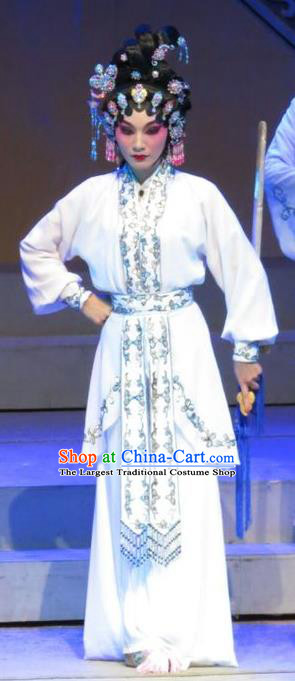 Chinese Cantonese Opera Martial Female Garment The Strange Stories Costumes and Headdress Traditional Guangdong Opera Wudan Apparels Actress Xiao Cui Dress
