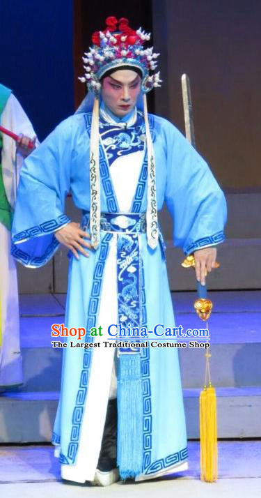 The Strange Stories Chinese Guangdong Opera Martial Male Apparels Costumes and Headwear Traditional Cantonese Opera Wusheng Garment Clothing