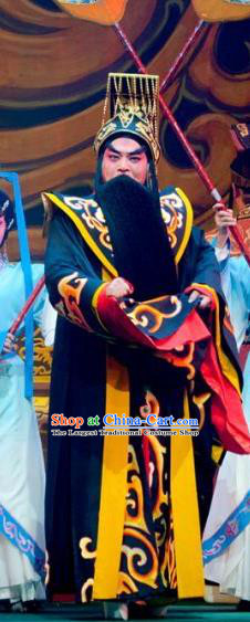 King of Qin Meng Jiang Chinese Guangdong Opera First Emperor Apparels Costumes and Headwear Traditional Cantonese Opera Laosheng Garment Monarch Ying Zheng Clothing