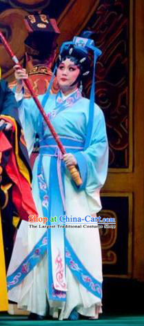 Chinese Cantonese Opera Court Maid Garment King of Qin Meng Jiang Costumes and Headdress Traditional Guangdong Opera Figurant Apparels Palace Lady Dress