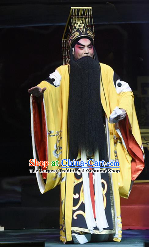 King of Qin Meng Jiang Chinese Guangdong Opera Monarch Apparels Costumes and Headwear Traditional Cantonese Opera Elderly Male Garment First Emperor Clothing