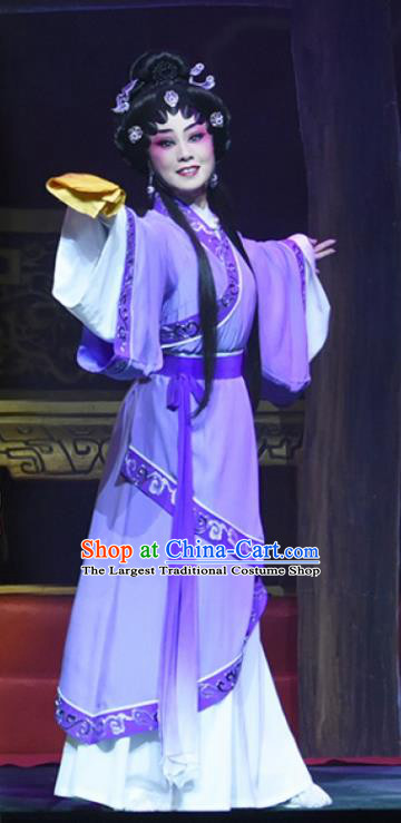 Chinese Cantonese Opera Young Female Garment King of Qin Meng Jiang Costumes and Headdress Traditional Guangdong Opera Actress Apparels Diva Purple Dress