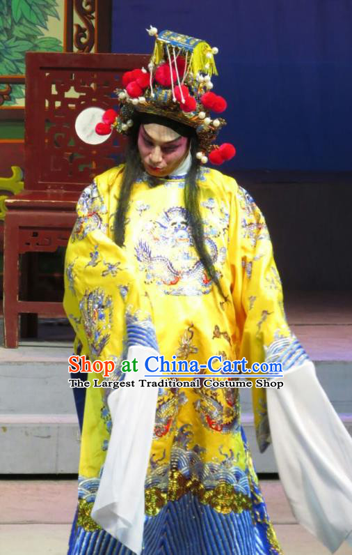 The Strange Stories Chinese Guangdong Opera Stupid Male Apparels Costumes and Headwear Traditional Cantonese Opera Xiaosheng Garment Wang Yuanfeng Clothing
