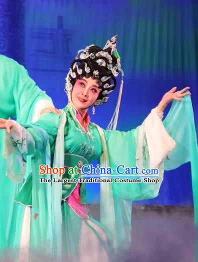 Chinese Cantonese Opera Actress Garment Milky Way Lovers Costumes and Headdress Traditional Guangdong Opera Hua Tan Apparels Goddess Zhi Nv Green Dress