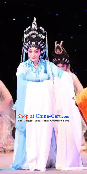 Chinese Cantonese Opera Goddess Zhi Nv Garment Milky Way Lovers Costumes and Headdress Traditional Guangdong Opera Actress Apparels Young Female Blue Dress