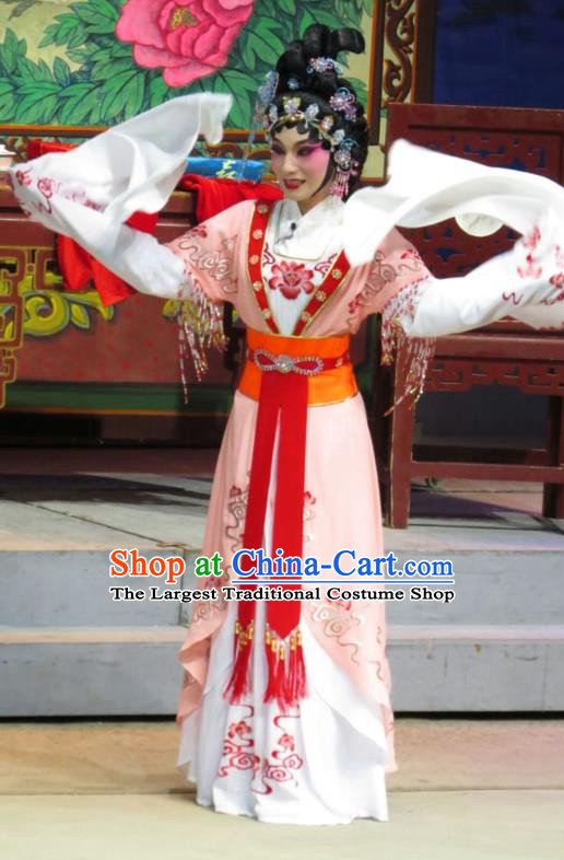 Chinese Cantonese Opera Young Beauty Garment The Strange Stories Costumes and Headdress Traditional Guangdong Opera Hua Tan Apparels Diva Xiao Cui Dress