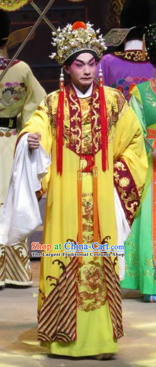 The Strange Stories Chinese Guangdong Opera Emperor Apparels Costumes and Headwear Traditional Cantonese Opera Garment Monarch Clothing