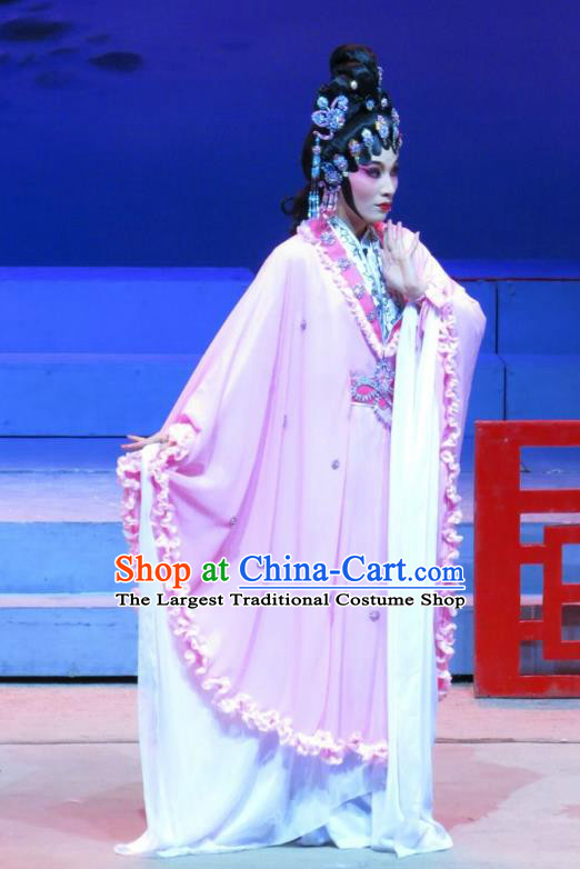 Chinese Cantonese Opera Fox Fairy Garment The Strange Stories Costumes and Headdress Traditional Guangdong Opera Diva Xiao Cui Apparels Young Beauty Dress