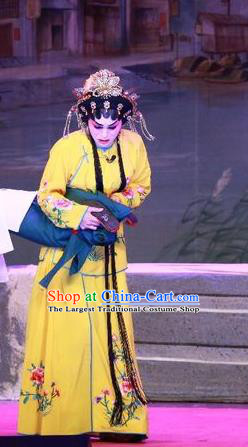Chinese Cantonese Opera Young Mistress Garment Escape from Banishment Costumes and Headdress Traditional Guangdong Opera Actress Apparels Diva Lin Chunhua Yellow Dress