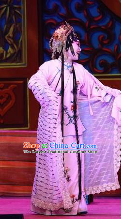 Chinese Cantonese Opera Young Female Garment Escape from Banishment Costumes and Headdress Traditional Guangdong Opera Actress Apparels Hua Tan Dress