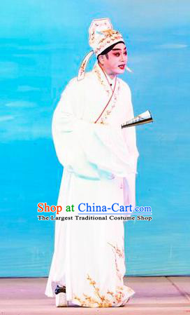 San Xiao Yin Yuan Chinese Guangdong Opera Xiaosheng Apparels Costumes and Headwear Traditional Cantonese Opera Gifted Youth Garment Scholar Tang Bohu Clothing