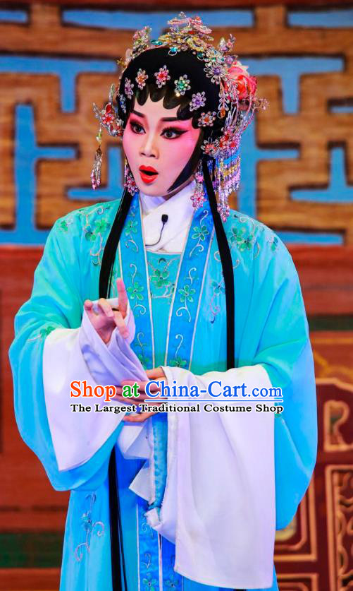 Chinese Cantonese Opera Young Lady Garment San Xiao Yin Yuan Costumes and Headdress Traditional Guangdong Opera Hua Tan Apparels Diva Qiu Xiang Blue Dress