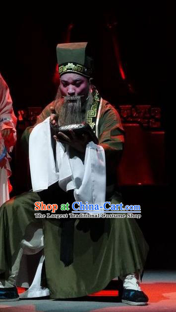 Zi Yun Chinese Guangdong Opera Elderly Male Apparels Costumes and Headwear Traditional Cantonese Opera Old Scholar Garment Clothing