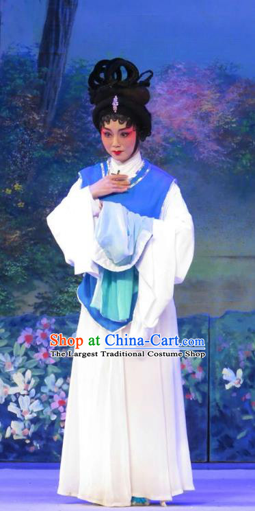 Chinese Cantonese Opera Maid Lady Cui Yun Garment Wu Nv Bai Shou Costumes and Headdress Traditional Guangdong Opera Xiaodan Apparels Servant Girl Dress