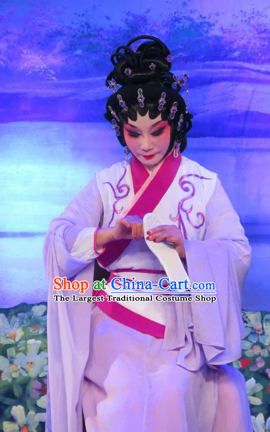 Chinese Cantonese Opera Young Female Garment Wu Nv Bai Shou Costumes and Headdress Traditional Guangdong Opera Diva Apparels Actress Yang Sanchun Dress