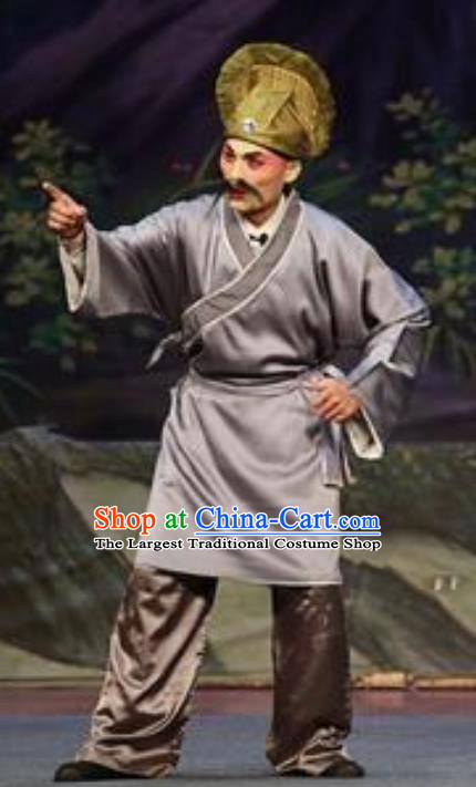 Chinese Guangdong Opera Elderly Servant Apparels Costumes and Headwear Traditional Cantonese Opera Myrmidon Garment Clothing