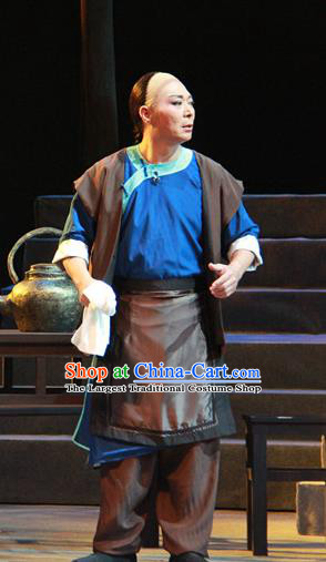 Liang Cha Wang Chuan Qi Chinese Guangdong Opera Young Male Apparels Costumes and Headwear Traditional Cantonese Opera Garment Civilian Wang Laoji Clothing