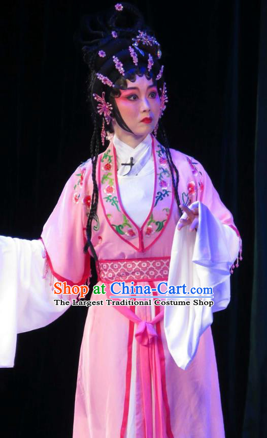 Chinese Cantonese Opera Young Beauty Garment Wu Nv Bai Shou Costumes and Headdress Traditional Guangdong Opera Diva Apparels Actress Pink Dress