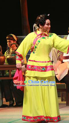 Chinese Cantonese Opera Actress Garment Liang Cha Wang Chuan Qi Costumes and Headdress Traditional Guangdong Opera Apparels Young Female Yellow Dress