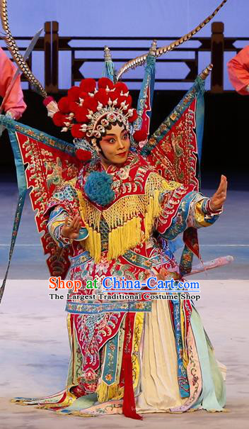 Chinese Cantonese Opera Tao Ma Tan Garment Liu Jinding Costumes and Headdress Traditional Guangdong Opera Female General Apparels Dress with Flags